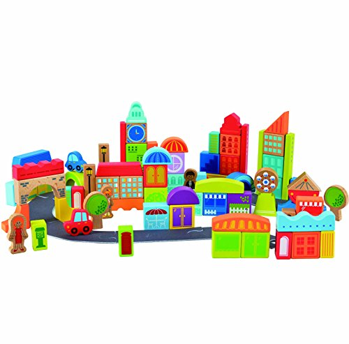 Hape Kids Wooden Blocks City Block Set (80 Piece) - Maple Blocks Set