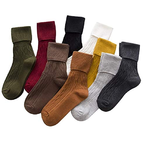(9 Pairs Women's Crew Socks Cotton Knit Soft Turn Cuff Socks)