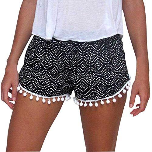 TOTOD Shorts Sale Women Polka Dot High Waist Tassel Summer Casual Short Pants Trousers Black