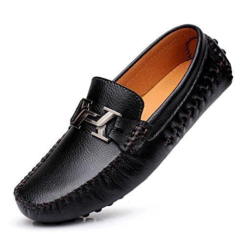 Sunrolan Bidrags Mäns Läder Förarstil Moccasin Skor Slip-on Loafers Med Metallkonstruktioner Svart