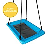 Play Platoon Outdoor Tree Swing for Kids & Adults - Rectangle Swing 40 x 30 Inches, Fully Assembled, 600 lb Weight Capacity, Easy to Install, Blue & Black