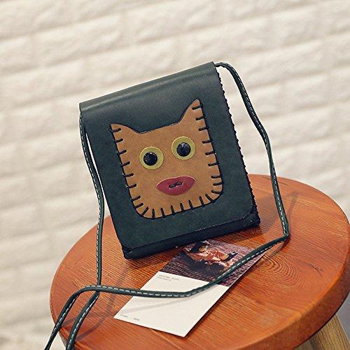 Solo Bolso De Hombro Diagonal Tendencia De Coreano Cartoon Lovely Lady Bolso De Mano,Perro Marron Claro Perro Verde