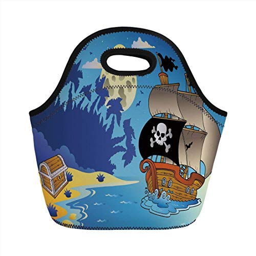 Portable Bento Lunch Bag,Pirate,Buccaneer Adventure Antique Ship Deserted Tropical Island Chest Midnight Filibuster Decorative,Multicolor,for Kids Adult Thermal Insulated Tote Bags