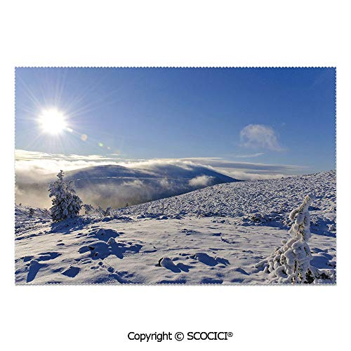 (SCOCICI Set of 6 Printed Dinner Placemats Washable Fabric Placemats Snowy Landscape from The top of a Hill Open Clear Sky Winter Season Photography for Dining Room Kitchen Table Decoration)
