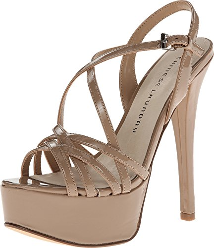 Chinese Laundry Women's Teaser Platform Dress Sandal, Nude Patent, 8.5 M US