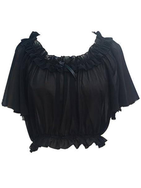a4f76baf81e Amazon.com: TanQiang Women's Chiffon Crop Top Short Batwing Sleeve Chiffon  Blouse (Black): Clothing