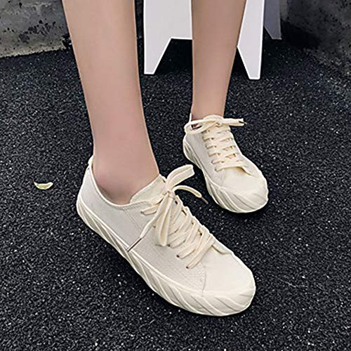 CN37 Punta Scarpe Piatto 5 Comoda Per Nero Donna EU37 US7 TTSHOES Di Bianco Estate Corda UK5 Sneakers White Tonda qSBF8UEz