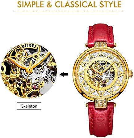 BUREI Montre Automatique Femme squelette, avec cadran doré et bracelet en cuir rouge