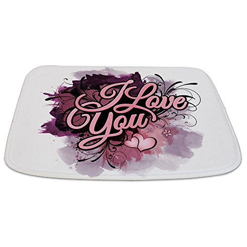 Bathmat Large I Love You Purple Floral Grunge by Truly Teague