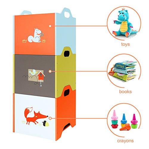 Orange//Yellow//Blue Fox 3 Stackable Baby Toy Storage Box Wooden Toy Box Set