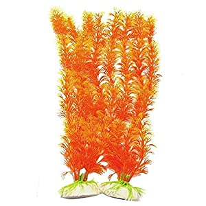 MICKYMIN Fish Tank Artificial Plants Aquarium Decoration Orange Plants Ornaments with Ceramic Base for Home Fish Tank Decors 57