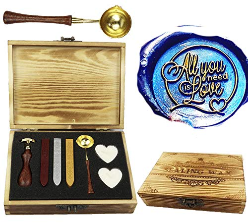 CTEB 'all you need is love' Heart Decorative Wax Seal Stamp Kit Wood Handle Melting Spoon Wax Sticks Candle Wood Gift Box Set Gift Cards Weding Invitations Envelopes Letters Sealing Wax Seal Stamp Kit