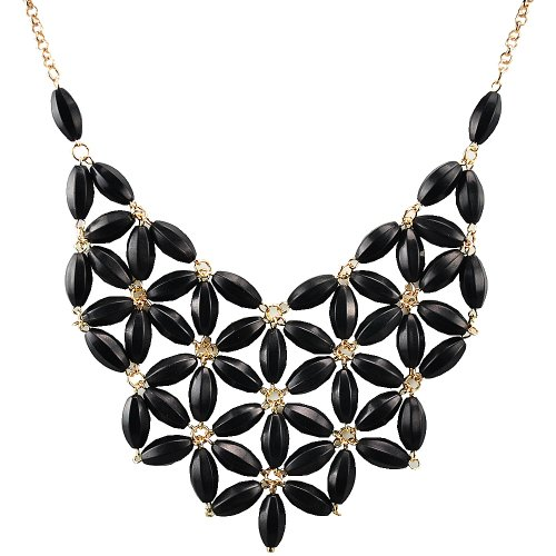 Jane Stone Fashion Necklace Tessellate Necklace Net Statement Beaded Jewelry Bib Jewellery for Women Party Gift(Fn0511-Black)
