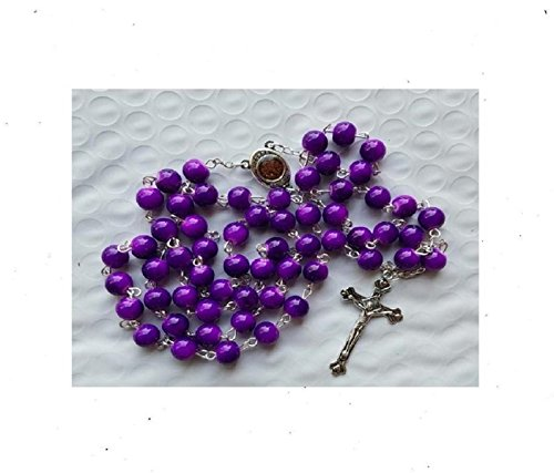 Bethlehem Gifts TM Beautiful Round Beads Rosary Catholic Necklace Holy Soil Medal & Crucifix by (Solid Purple) - Purple Rosary Crucifix