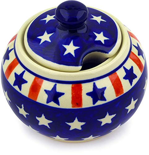 Polish Pottery 9 oz Sugar Bowl (Americana Theme) + Certificate of Authenticity