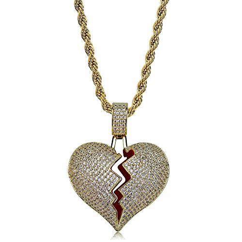 Iced Out Gold Chains - TOPGRILLZ Iced out Lab Premium Simulated Diamond Bling Bubble Brokenheart Pendant Necklace Chain for Men Women Fashion Jewelry Gifts (Gold Brokenheart)
