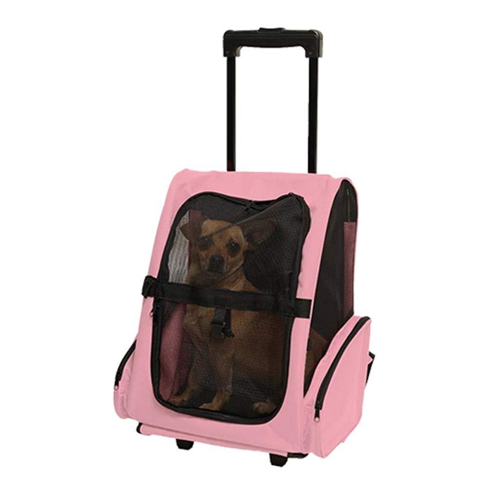 Pet Breathable Trolley Case Pet Backpack Rolling Carrier Pet Oxford Trolley Case Pocket Bag Portable Rolling Pet Holder (Pink)
