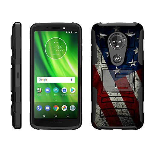 TurtleArmor | Compatible for Motorola Moto G6 Play Case | Moto G6 Forge Case [Hyper Shock] Rugged Hybrid Dual Layer Armor Holster Belt Clip Case - American Flag