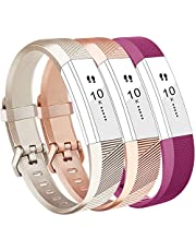 Vancle For Fitbit Alta Strap and Alta HR Strap, Adjustable Replacement Sport Strap Bands for Fitbit Alta and Alta HR Smartwatch Fitness Wristband (Champagne Rosegold Teal, Large)