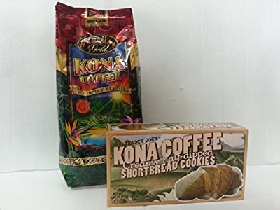 Hawaiian Gold Kona Coffee + Trader Joe's Kona Coffee Creamy Half-dipped Shortbread Cookies
