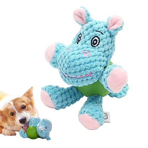 EETOYS Plush with Squeaker Low Stuffing Chew Guard Animal Series Dog Toy Blue Hippo Small ()