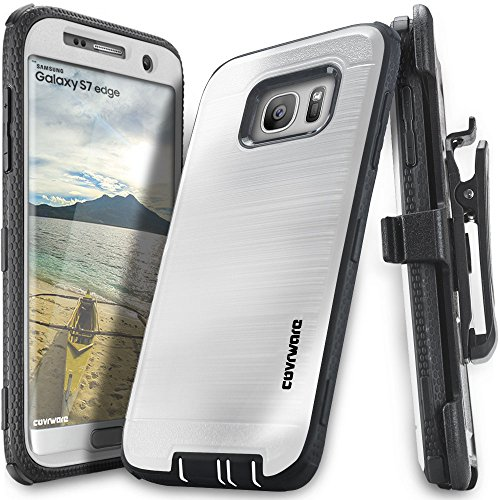 Samsung Galaxy S7 Edge Case, COVRWARE [Iron Tank] w/ [Full-Coverage Screen Protector] Heavy Duty Full-Body Rugged Holster Armor [Brushed Metal Texture] Case [Belt Clip][Kickstand], White