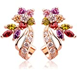 Yellow Chimes Florets Love Curvacious AAA Swiss Cubic Zirconia Studs Earrings for Women and Girls