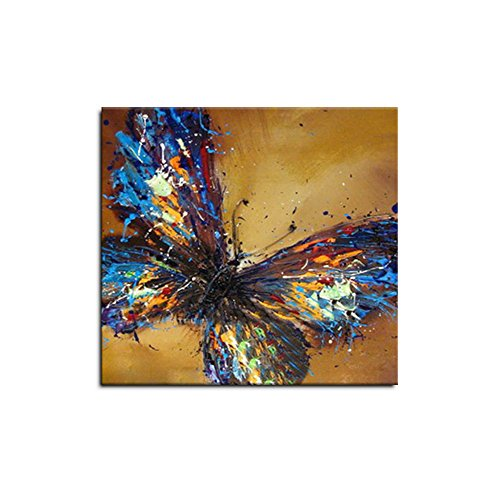 HASYOU Brown Butterfly Oil Painting 100% Hand Painted Artwork Living Room Decor Paintings On Canvas Art For Wall Framed Ready To Hang (24x24inch)