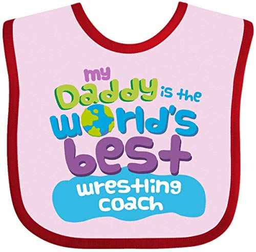 Inktastic - My Daddy is the World's Best Wrestling Baby Bib Pink and Red 25654 ()