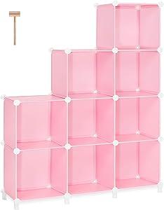 TomCare Cube Storage 9-Cube Closet Organizer Storage Shelves Cubes Organizer DIY Bookshelf Bookcase Plastic Cube Shelf Clothes Storage Organizer Shelves for Bedroom Living Room Office, Pink