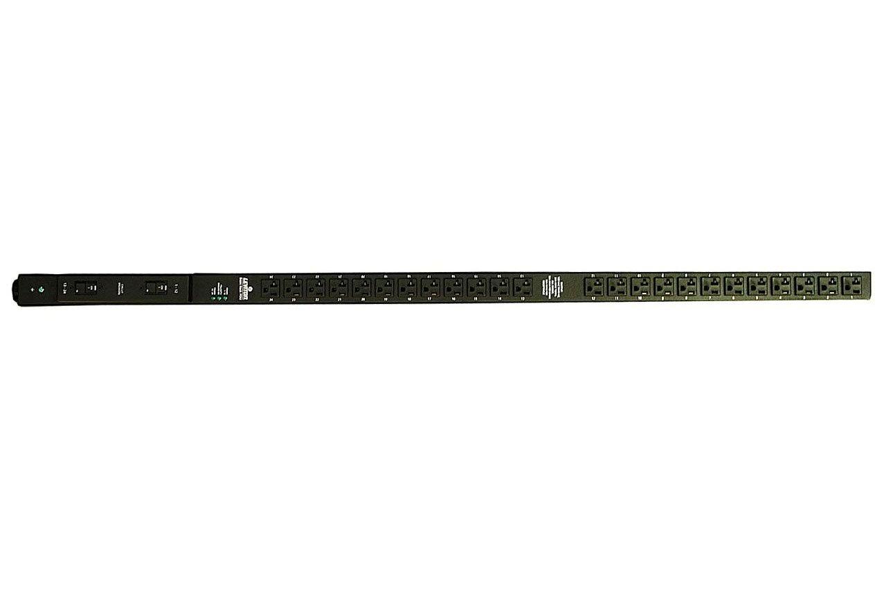 Leviton P1045-10L Vertical Power Distribution Unit 120 Volt 30 Amp NEMA L5-30P Locking Plug Type, 24 Receptacles with 10 ft. Power Cord, Black