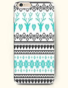 OOFIT Authentic Cases for iPhone 6 Plus (5.5inch) - Hard Back Plastic Case /Merry Christmas Xmas/ Blue Black Christmas Reindeer and Chevron Snow Flakes