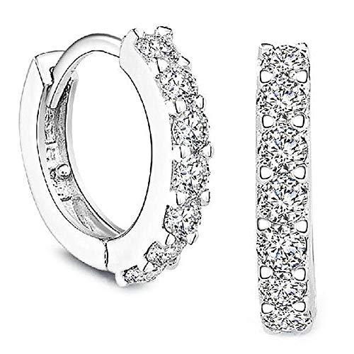 1set Silver Rhinestones Hoop Diamond Stud Earrings for Women