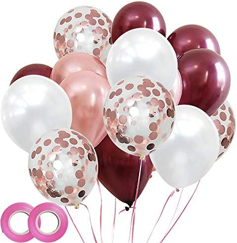 [해외]Bridal Party Balloons Decoration Pack of 48 - Burgundy White Latex Balloons and Rose Gold Confetti Balloons12 Inch / Bridal Party Balloons Decoration Pack of 48 - Burgundy White Latex Balloons and Rose Gold Confetti Balloons12 Inch