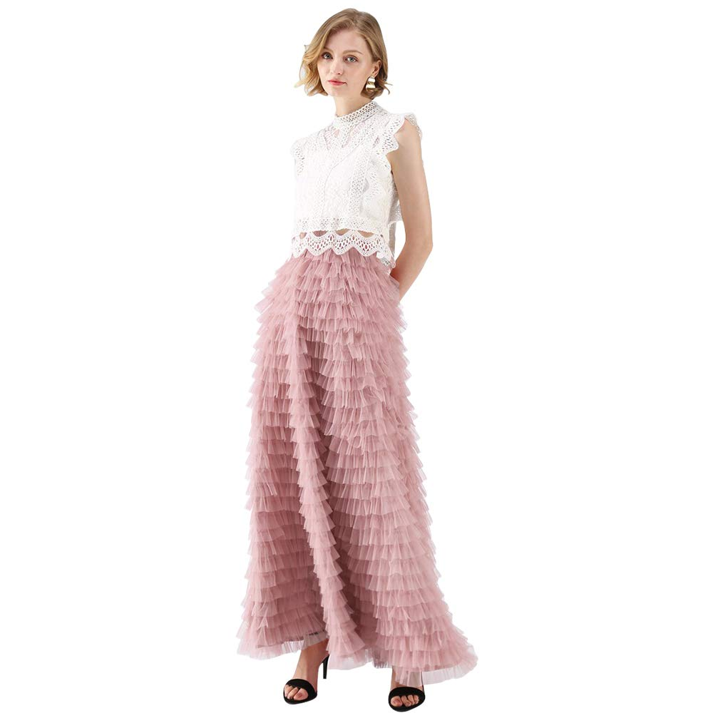 0df907980 Top4: Chicwish Women\'s Grey/Mint Dots/Purple/Rouge Pink Tiered Layered  Mesh Ballet Prom Party Tulle Tutu A-Line Maxi Skirt
