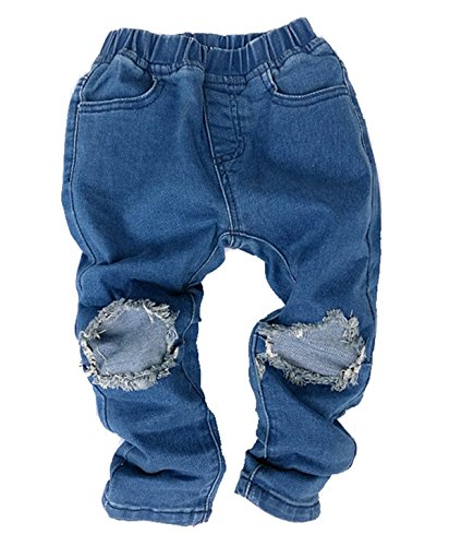 Price comparison product image BANGELY Toddler Kids Boys Girls Hole Denim Pants Ripped Washed Jeans Broken Leggings Size 1-2 Years/Tag90 (Blue)