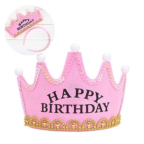 6pcs LED Luz Fiesta de cumpleaños sombreros tapas de corona rey princesa fiesta de cumpleaños Decoración para niños adultos