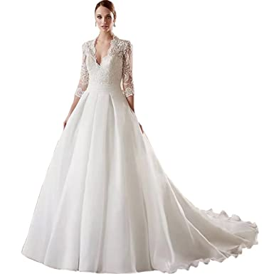 e5979f39737 Chady Deep V-Neck Lace Wedding Dresses 2018 Ball Gown 3 4 Sleeves Back with  Button Vintage Wedding Dresses Bridal Gowns at Amazon Women s Clothing  store
