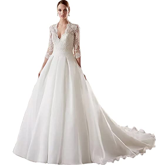 Chady Deep V-Neck Lace Wedding Dresses 2018 Ball Gown 3/4 Sleeves Back