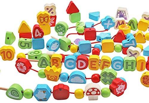 知育おもちゃ ビーズストリンギング幼児子供のための教育弦の張り玩具、大きな木製の文字と番号のブロック100個大レーシングビーズセット用 幼児教育の知的おもちゃ (色 : マルチカラー, サイズ : 15x18cm)