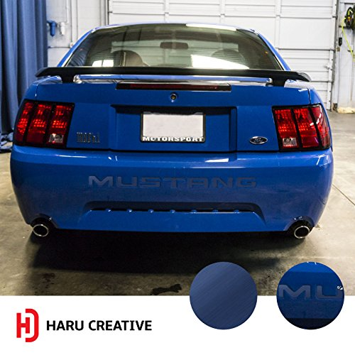 (Haru Creative - Rear Bumper Trunk Letter Insert Overlay Vinyl Decal Compatible with and Fits Ford Mustang 1999 2000 2001 2002 2003 2004 - Metallic Brushed Aluminum Blue)