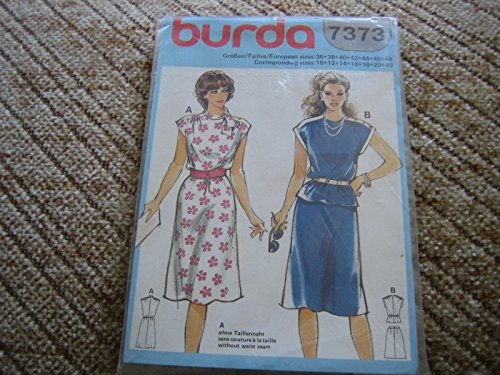 Burda vintage mehrgrößen Schnittmuster 7373 Damen Kleid 1 oder 2tlg ...