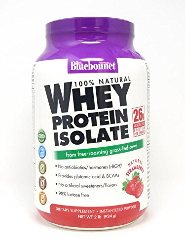 BlueBonnet 100% Natural Whey Protein Isolate Powder, Strawberry, 2 Pound - 100% Whey Natural Strawberry