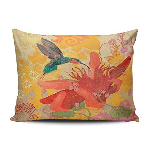 Salleing Custom Hot Romantic Purple Blue Aqua Hummingbird Birds Red Tropical Decorative Pillowcase Pillowslip Throw Pillow Case Cover Zippered One Side Printed 12x20 Inches