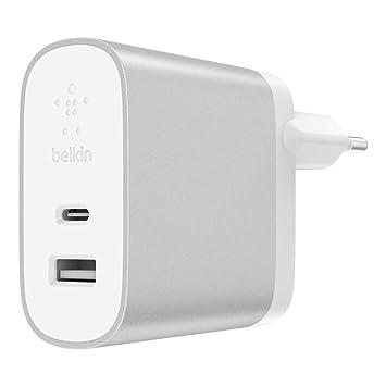 Belkin Boost Charge - Cargador doméstico USB-C de 27 W + USB-A de 12 W (39 W en Total), carga Rápida para iPhone XS, XS MAX, XR, X, 8/8 Plus y otros ...