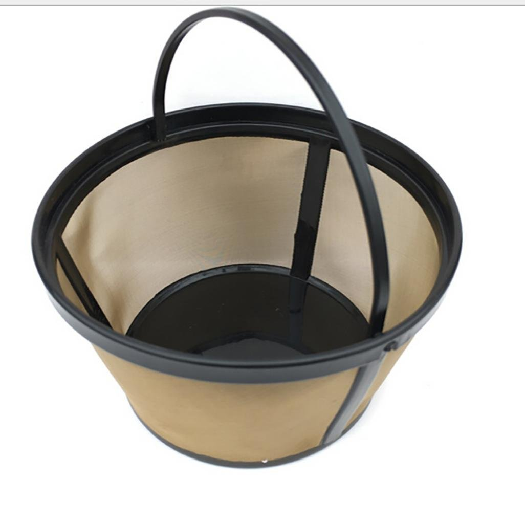 Bovake 8-12 Cup Basket Style Permanent Gold Tone Coffee Filter