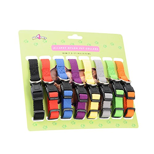 All4pet Soft Nylon Puppy Collars Puppy ID Collars Whelping Litter Collars(Deluxe) (8/Set) (Nylon Dog Puppy Collar)