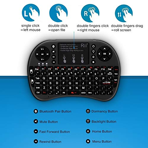 (Upgraded) Rii i8+ Mini Bluetooth Keyboard with Touchpad&QWERTY Keyboard,  Backlit Portable Wireless Keyboard for Smartphones