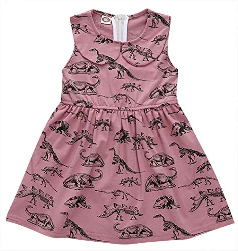 LOTUCY Toddle Baby Girls Dinosaur Print Dress Sleevless Skirt Dress Doll Collar Sundress Outfit Clothing Pink