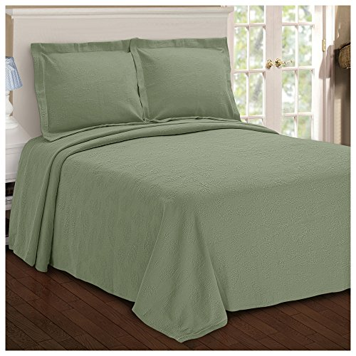 Superior Paisley Jacquard Matelassé 100% Premium Cotton Bedspread with Matching Shams, Twin, Sage